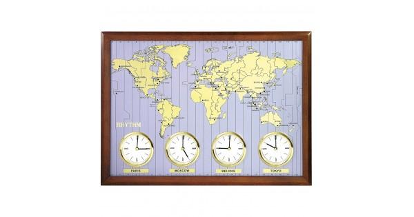 Rhythm Wooden Wall Clock 37pcs City Name Plate Amp 3pcs